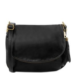 TL Bag Soft leather shoulder bag with tassel detail Black TL141223
