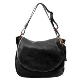 TL Bag Umhängetasche aus weichem Leder mit Quasten Schwarz TL141110