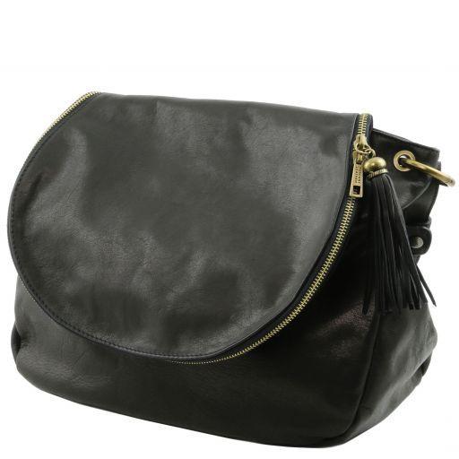 TL Bag Soft leather shoulder bag with tassel detail Black TL141110