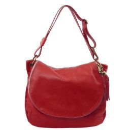 TL Bag Umhängetasche aus weichem Leder mit Quasten Rot TL141110