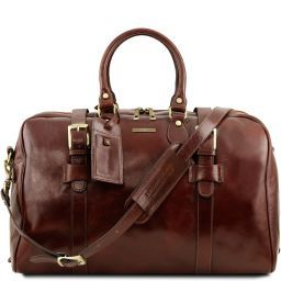 TL Voyager Leather travel bag with front straps - Large size Brown TL141248