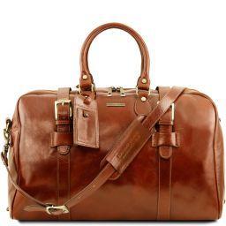 TL Voyager Reisetasche aus Leder mit Schnallen - Gross Honig TL141248
