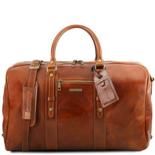 TL Voyager Leather travel bag with front pocket Honey TL141401
