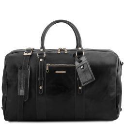 TL Voyager Reisetasche aus Leder mit Vorderfach Schwarz TL141401