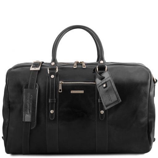 TL Voyager Leather travel bag with front pocket Black TL141401