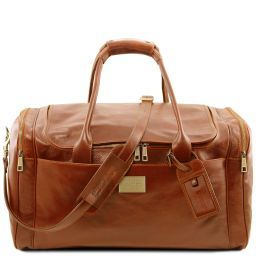 TL Voyager Travel leather bag with side pockets - Large size Honey TL141281