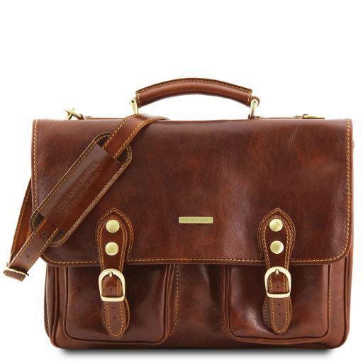 Modena Messenger Tasche aus Leder 2 Fächer Braun TL141134
