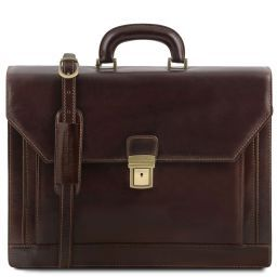 Napoli 2 compartments leather briefcase with front pocket Темно-коричневый TL141348