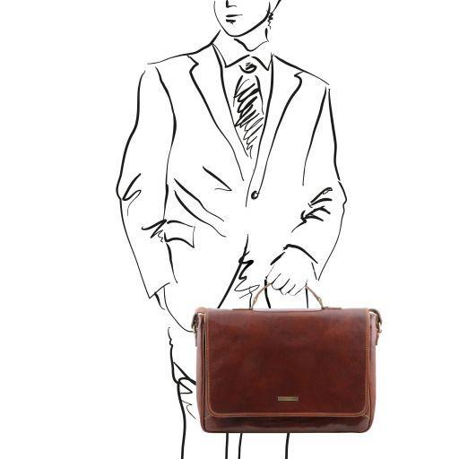 Padova Esclusiva cartella porta notebook in pelle 1 scomparto Marrone TL140891