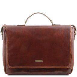 Padova Elégante serviette pour portable en cuir Marron TL140891