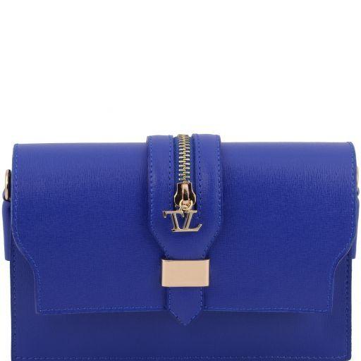 TL Bag Pochette in pelle Saffiano con tracolla sganciabile Blu TL141317
