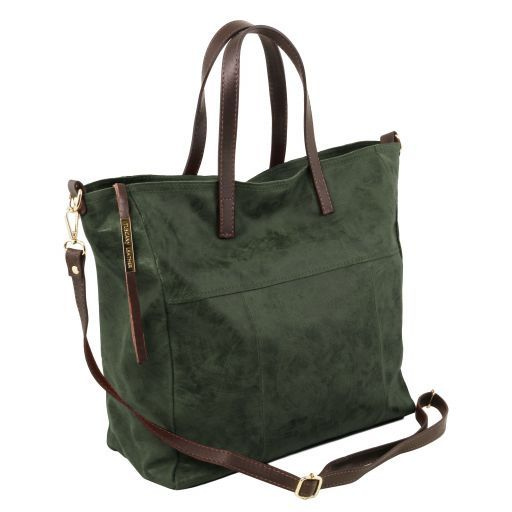 Annie Aged effect leather TL SMART shopping bag Forest Green TL141552