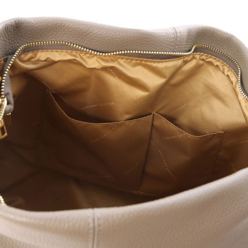 TL Bag Soft leather hobo bag Dark Taupe TL141719