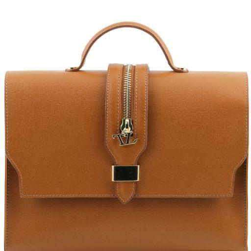 TL Bag Borsa a mano in pelle Saffiano e tracolla staccabile Cognac TL141318