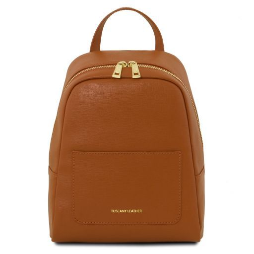 TL Bag Small Saffiano leather backpack for women Cognac TL141701