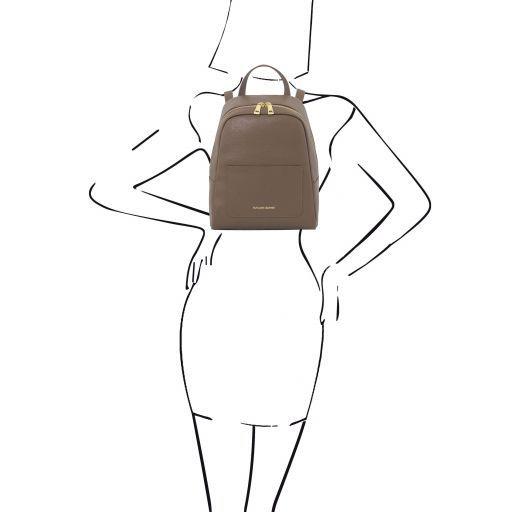 TL Bag Zaino piccolo in pelle Saffiano da donna Talpa scuro TL141701
