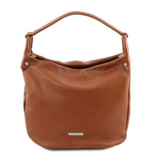 TL Bag Soft leather hobo bag Cognac TL141855