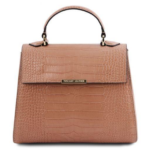 TL Bag Small croc print leather duffel bag Nude TL141887