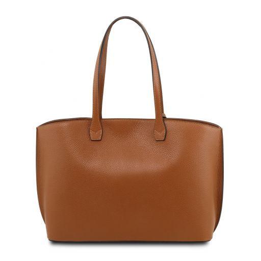 TL Bag Bolso tote en piel morbida Cognac TL141828