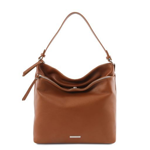 TL Bag Borsa a spalla in pelle morbida Cognac TL141874