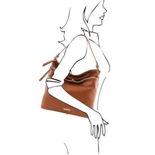 TL Bag Schultertasche aus weichem Leder Cognac TL141874