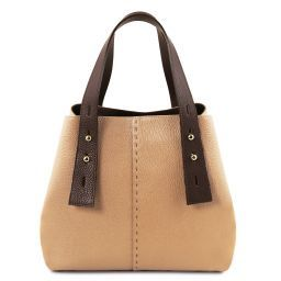 TL Bag Leather shopping bag Champagne TL141730