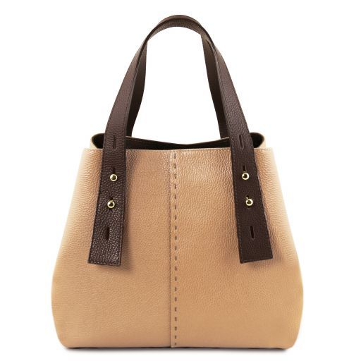 TL Bag Borsa shopping in pelle Champagne TL141730