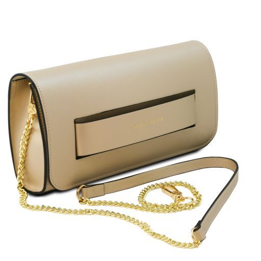 Sophia Leather clutch handbag Gold TL141816