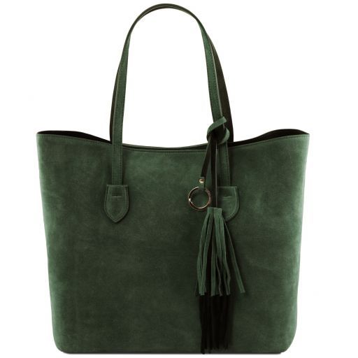 TL Bag Suede leather shopping bag Forest Green TL141639
