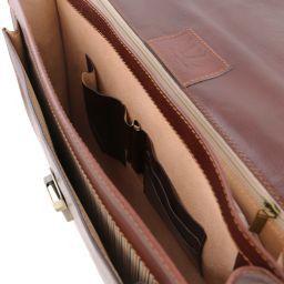 Napoli Porta folios en piel con 2 compartimentos y bolsillo frontal Marrón TL141348