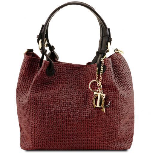 TL KeyLuck Woven printed leather shopping bag Bordeaux TL141573