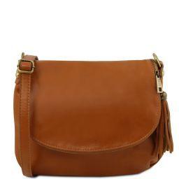 TL Bag Soft leather shoulder bag with tassel detail Cognac TL141223