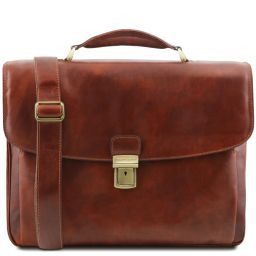 Alessandria Leather multi compartment TL SMART laptop briefcase Brown TL141448