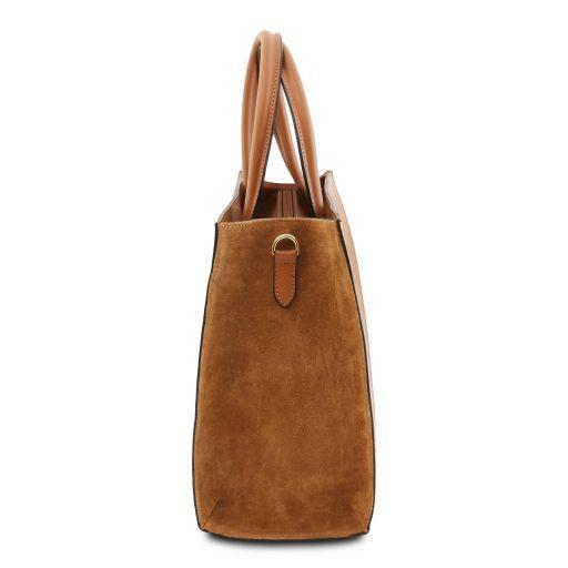 Medea Leather vertical tote Cognac TL141906