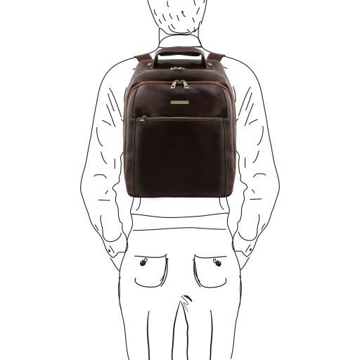 Phuket 3 Compartments leather laptop backpack Dark Brown TL141402