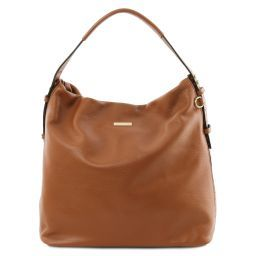 TL Bag Beuteltasche aus weichem Leder Cognac TL141884
