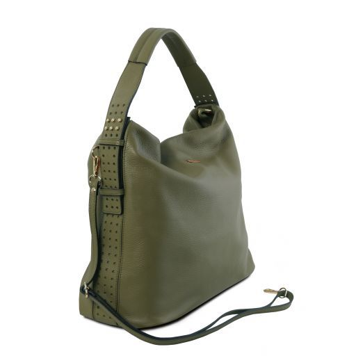 TL Bag Borsa hobo in pelle morbida Verde Oliva TL141884