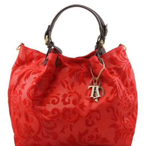 TL Keyluck Borsa shopping in pelle scamosciata stampa floreale Rosso TL141361
