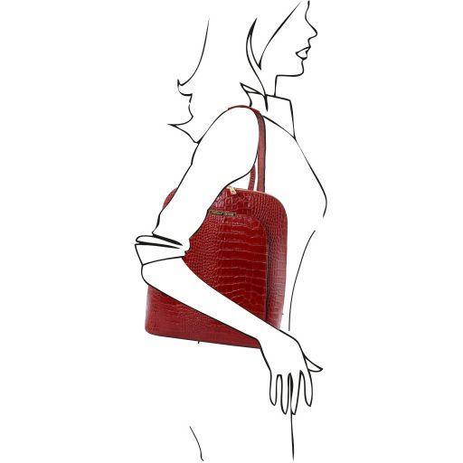 TL Bag Zaino donna in pelle stampa cocco Rosso TL141918