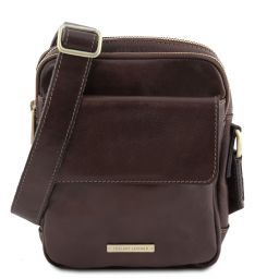 Larry Leather Crossbody Bag Dark Brown TL141915