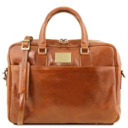 Urbino Leather laptop briefcase 2 compartments with front pocket Honey TL141894