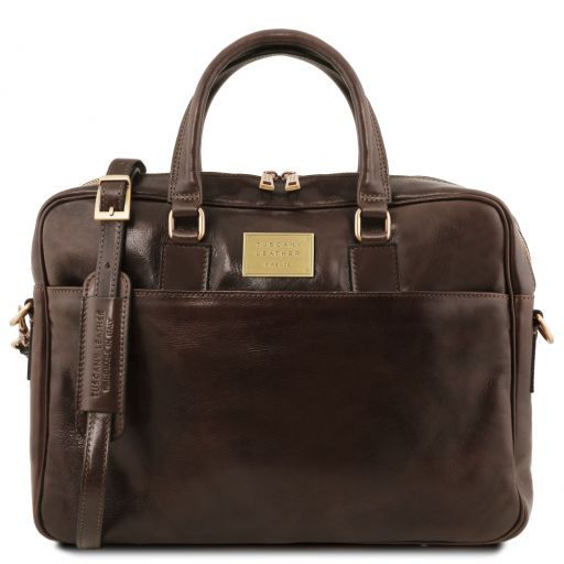 Urbino Two compartments leather laptop briefcase with front pocket Темно-коричневый TL141894