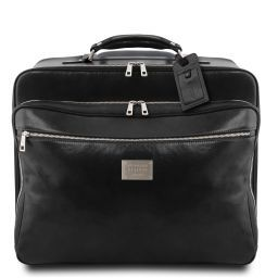 Varsavia Leather pilot case with two wheels Black TL141888