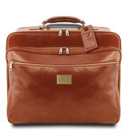 Varsavia Leather pilot case with two wheels Honey TL141888
