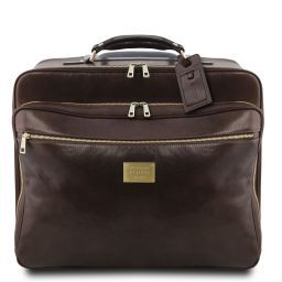 Varsavia Leather pilot case with two wheels Dark Brown TL141888