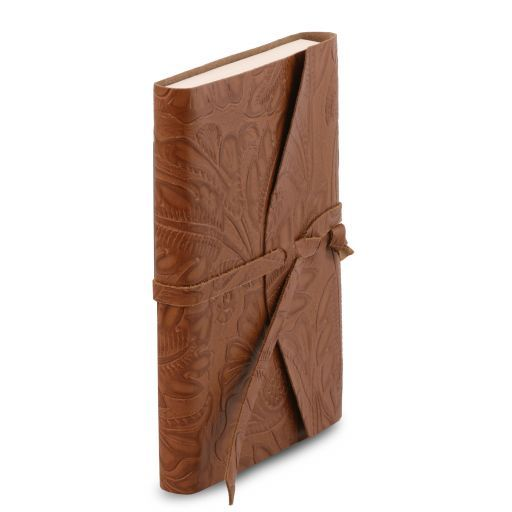 Leather travel diary with floral pattern Cognac TL141672