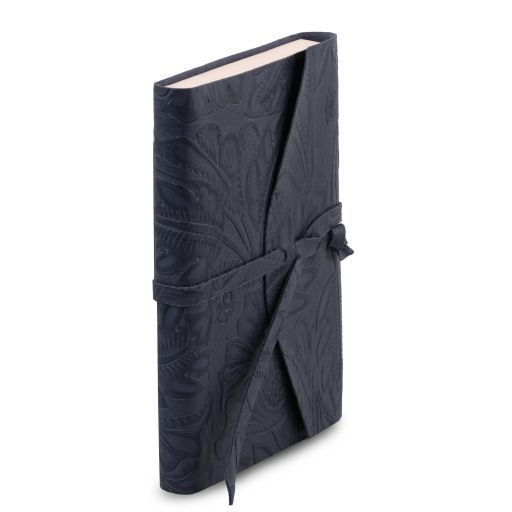 Leather travel diary with floral pattern Dark Blue TL141672