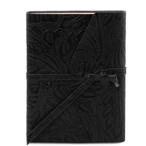 Carnet de voyage en cuir avec motif floral Noir TL141672
