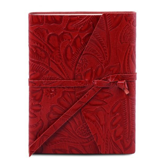 Carnet de voyage en cuir avec motif floral Rouge TL141672