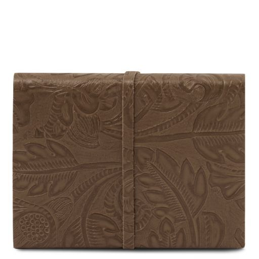 Leather travel diary with floral pattern Dark Taupe TL141672